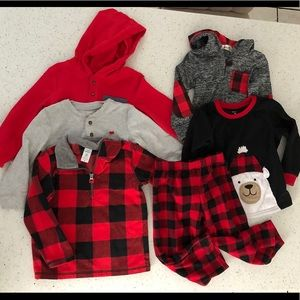 CARTERS Buffalo plaid/red and grey boy size 3T lot
